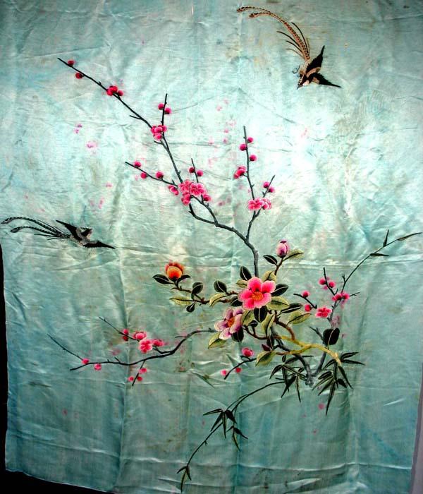 欧式蚕丝刺绣壁纸