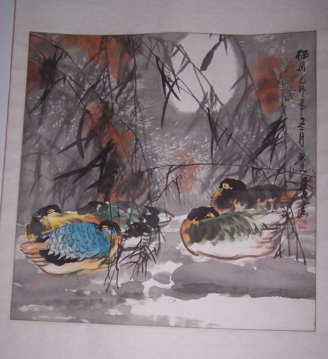 鲁人建民的花鸟画《栖月》