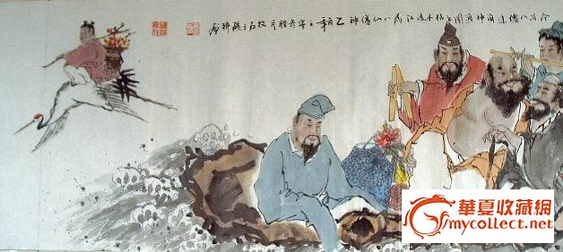 地摊 字画 其它 六尺长卷国画人物《八仙过海图》  编号 jy29303 上传