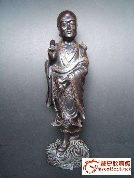 清代早期紫檀木镶银罗汉造像