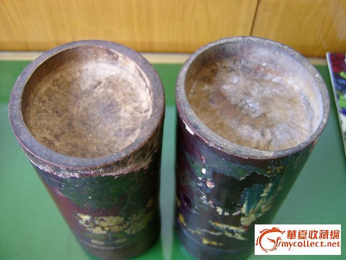 民国漆器竹制茶叶罐一对图片
