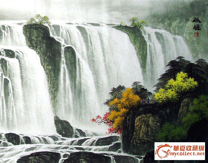 壁纸 风景 国画 旅游 瀑布 山水 桌面 700_550