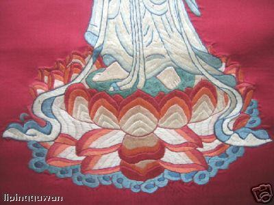 滴水观音菩萨像 :稀少的手工刺绣画!
