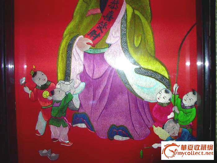 民国刺绣精品-招财进宝中堂<保守估计民国>,规格:中堂:118*高清图片