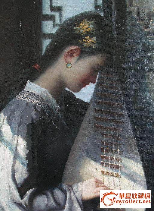 琵琶女[油画]