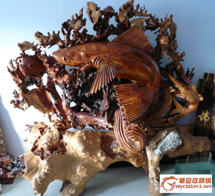 杉树根雕大型屏风-海底世界