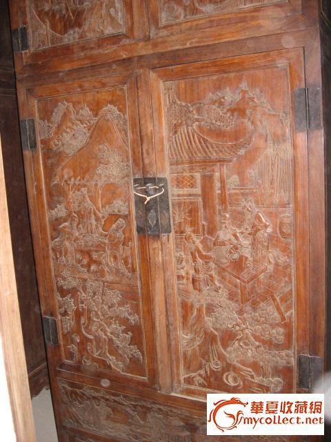 秋冬展销之二:一对黄花梨木三国演义纹饰顶箱柜