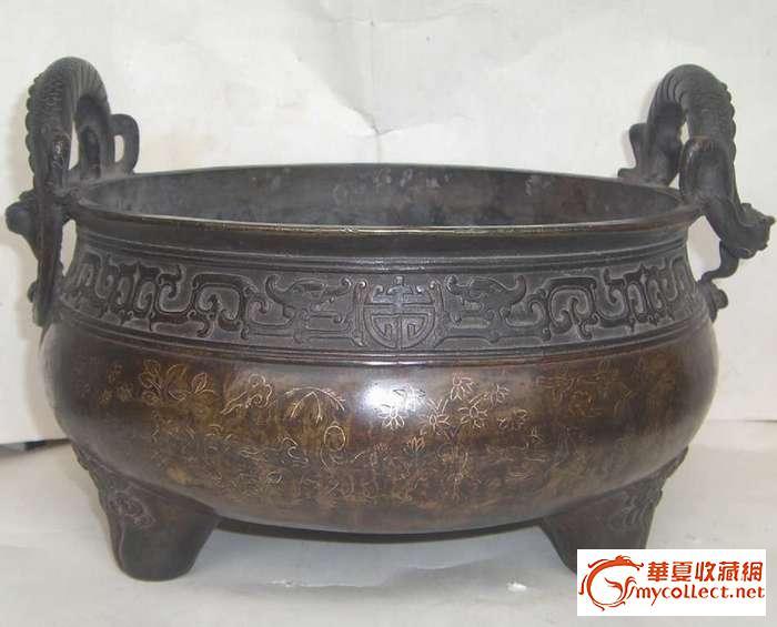 镶银丝大铜香炉(康熙年制)款,工艺漂亮