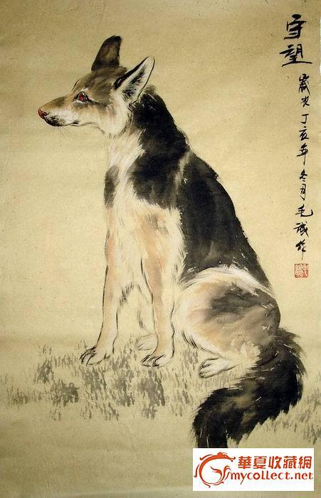毛诚·动物国画·狗