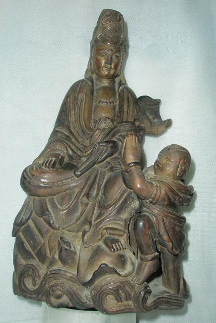 童子拜观音 酸枝木 木雕