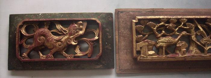 清,松树 仙鹤 狮子 金水木雕3片一套 25x12,19x10x2