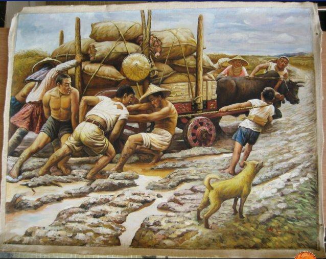 农村题材油画素材