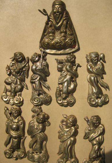 民国银器精工金鎏银八仙过海人物老寿星帽饰配件挂件一套