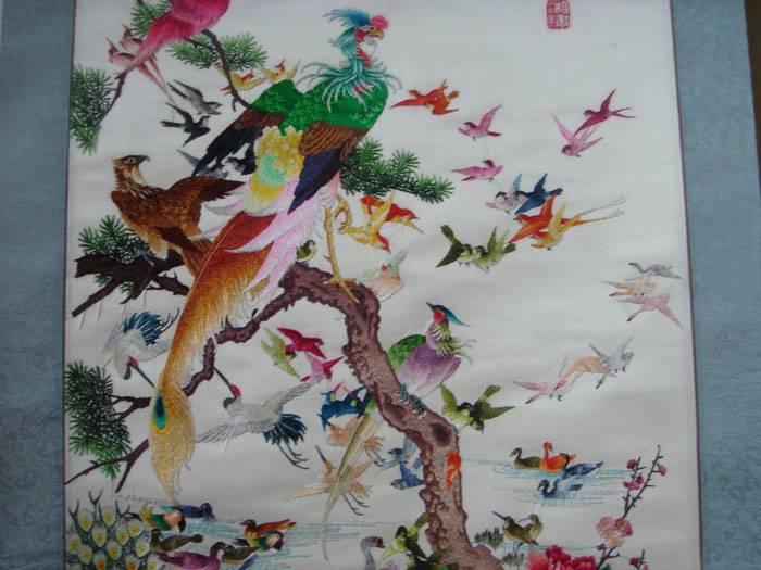 老刺绣-百鸟朝凤(挂轴装裱)