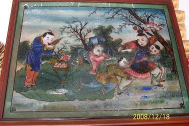 清末民国手绘彩色玻璃画挂件挂镜五子登科五子夺魁童戏图包老