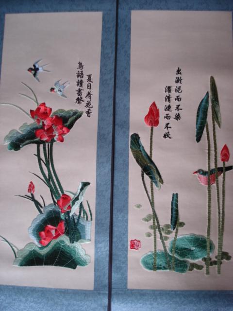 刺绣荷花鸳鸯图