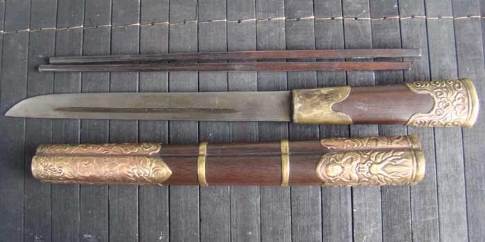 藏族龙头餐刀图片