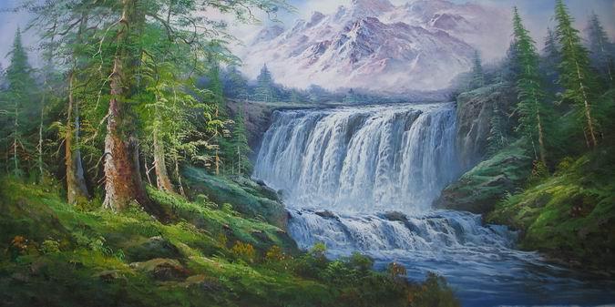 大幅风景油画【雪山瀑布】 140cmx100cm
