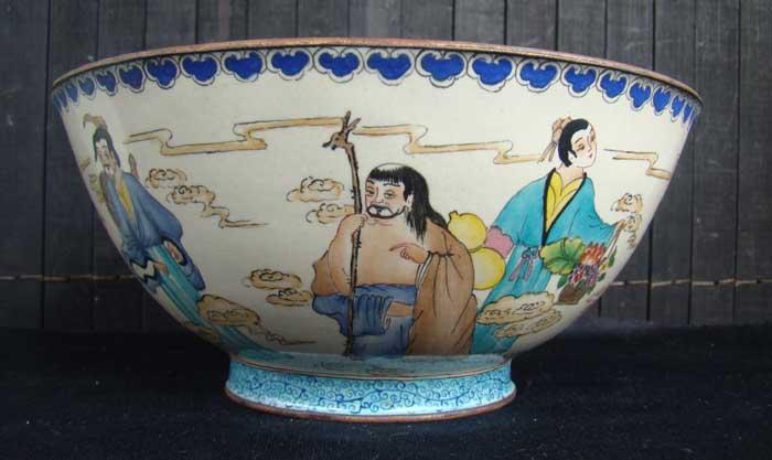 老景泰蓝[八仙过海]寿碗