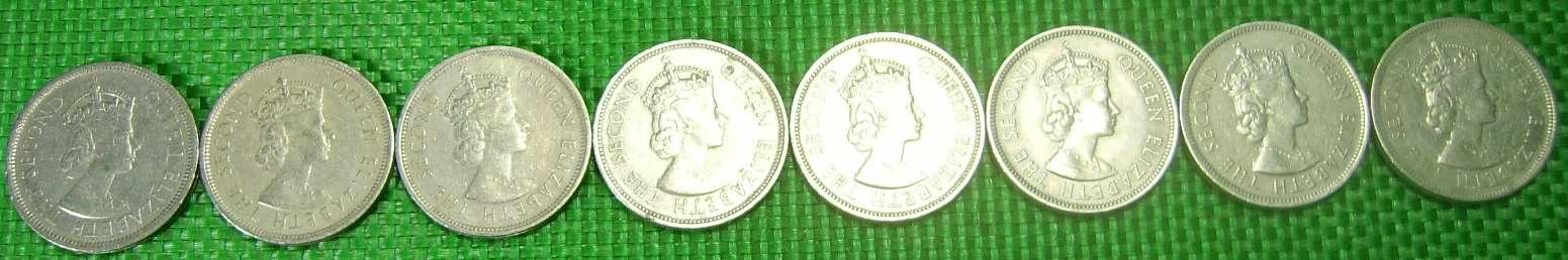 香港大一元(英女皇头像)硬币一套八个