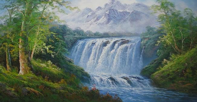 大幅风水风景油画【雪山瀑布】123cmx63cm