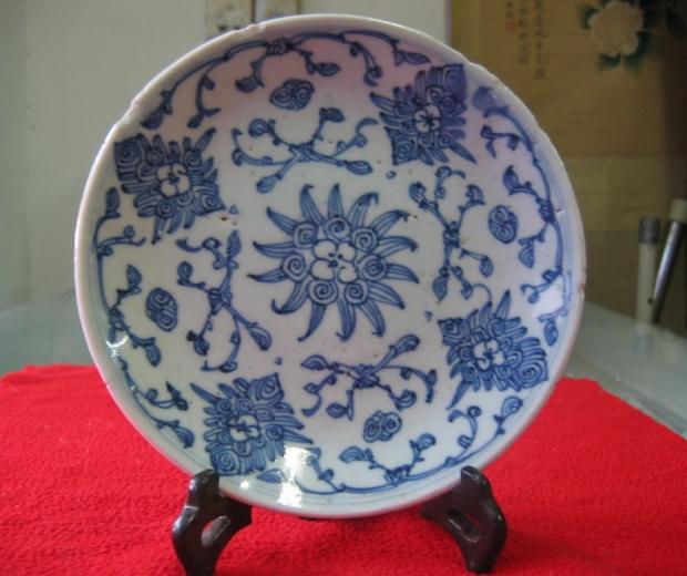清中期缠枝花纹盘包老特价