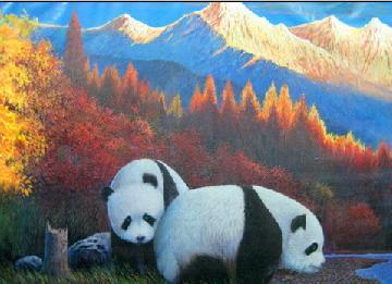 ██团团圆圆██ 熊猫油画