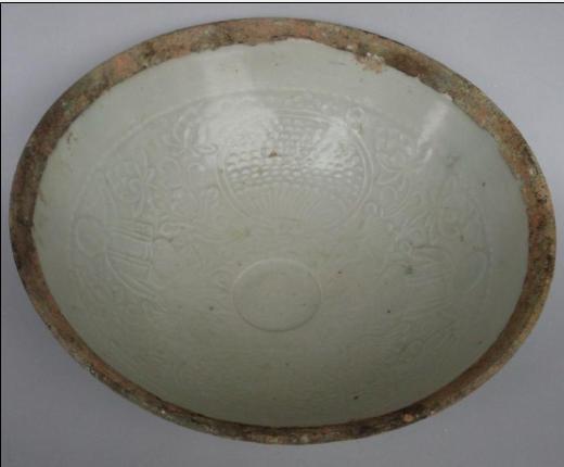南宋湖田窑印花镶银边碗 直径17.5 高7