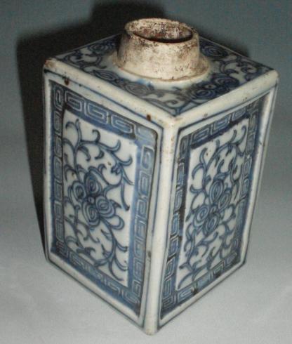 清中后期 青花茶叶罐 直径7 高10.8