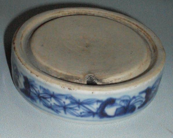 清代 青花 瓷砚 直径8.2 高2