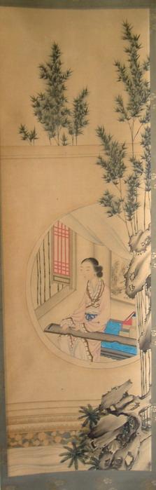 原装裱--绢本抚琴古典美女