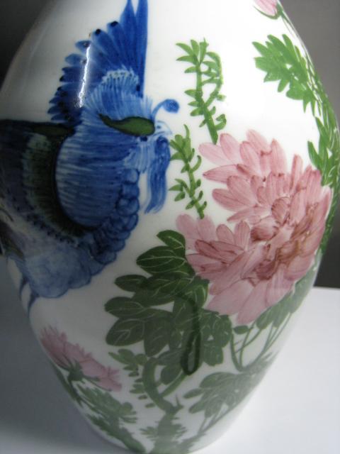 釉下彩凤穿牡丹花瓶图片