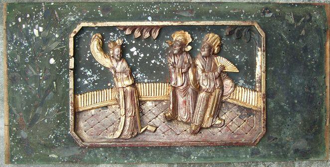 清代非常特殊送子观音花瓶鸟莲花座年年有余木雕观音