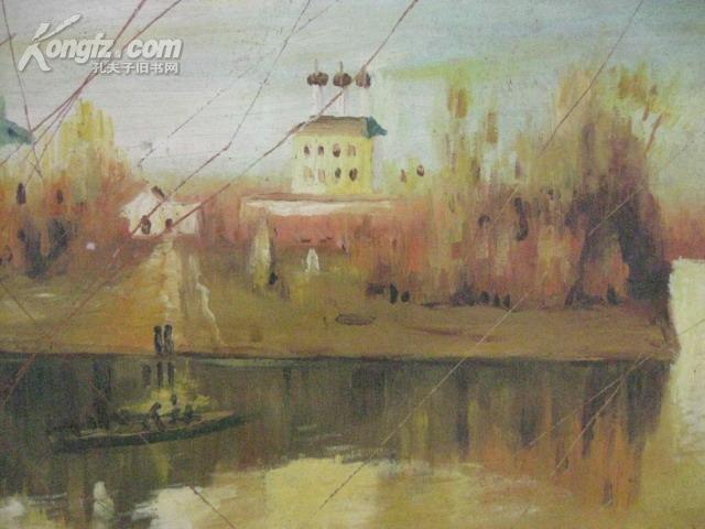 上海著名油画家周本义木底布面风景油画
