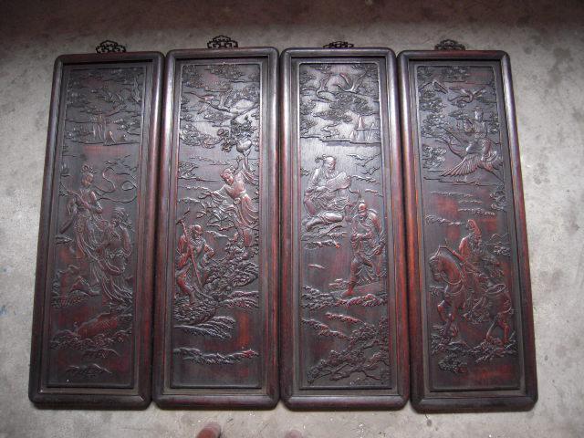 木板雕刻---八仙过海四条屏