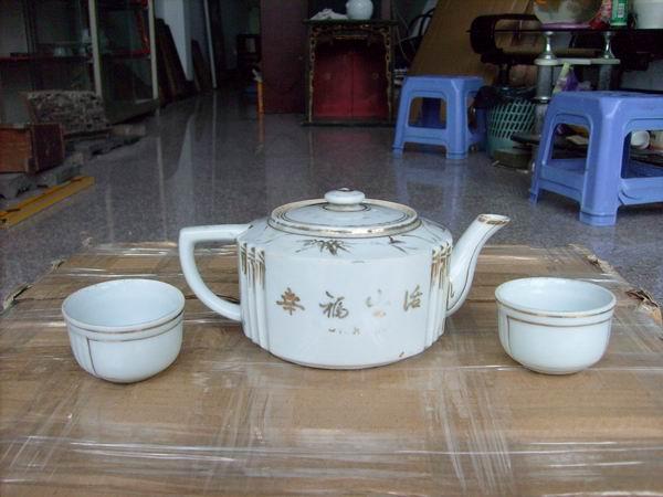 60年代 德化窑 手绘山水茶壶