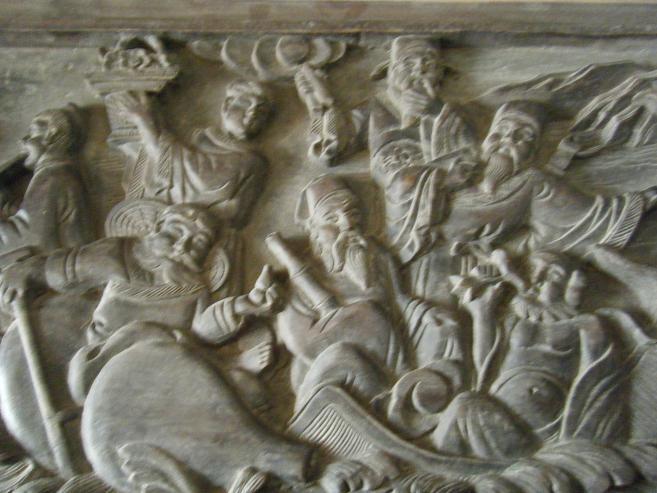 浮雕八仙过海图案