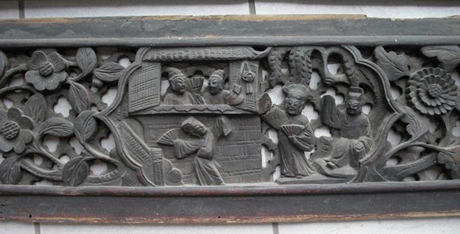 徽州精品木雕花板一对-图3