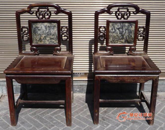 清末红木大理石靠背椅