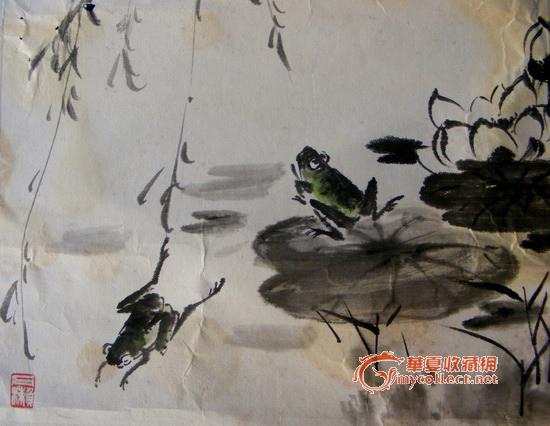 国画荷塘青蛙步骤图片