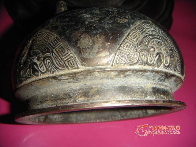 古纹饰 铜香炉一个