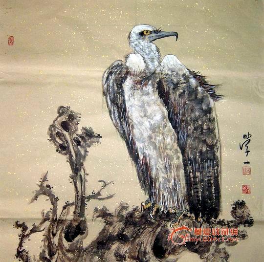 中国书画创作中心画师作品-花鸟斗方