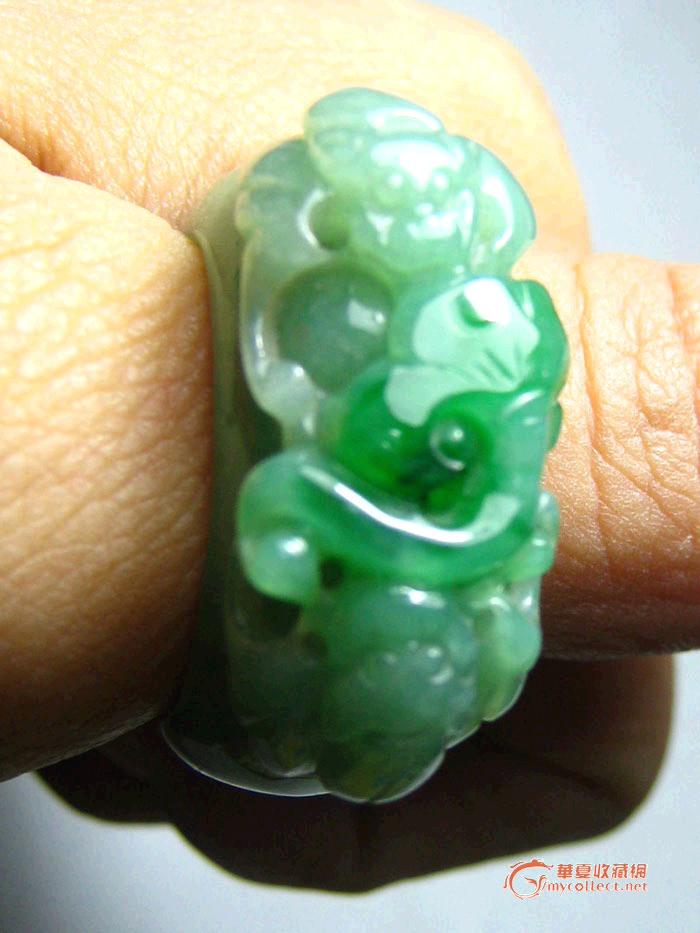 翡翠如意瑞兽戒指,手工雕刻