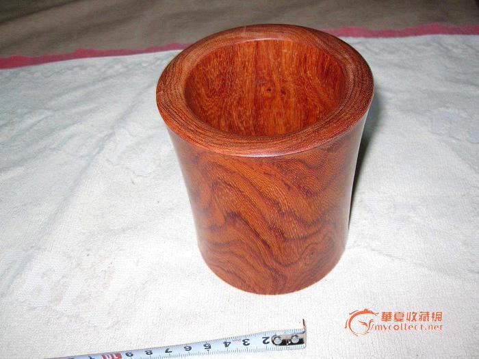 红木(白酸枝)笔筒-花纹极好