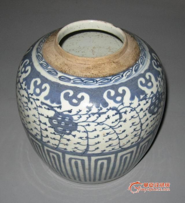 嘉庆青花缠枝花纹罐