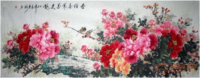 八尺国画牡丹图片欣赏