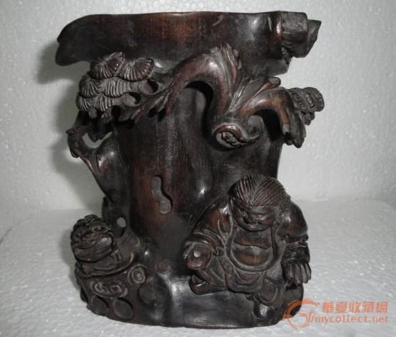 紫檀木笔筒--刘海戏金蟾