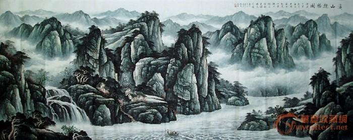 山水风景图片素描_素描山水
