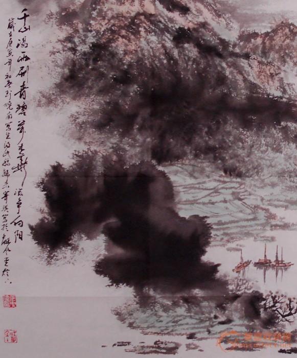张中伟4尺斗方国画山水精品