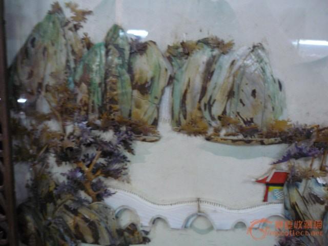 罕见 民国 螺钿精细雕刻镶嵌山水 大 座屏 非玻璃画